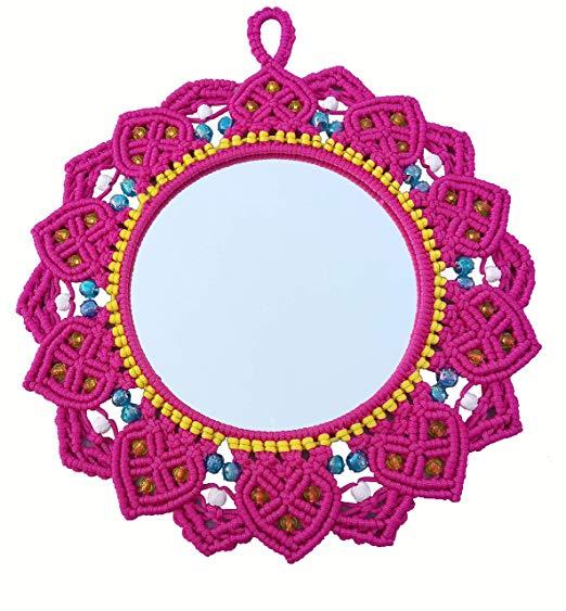 Macrame Mirror (Dark Pink) ( macrame mirror flower ) 2